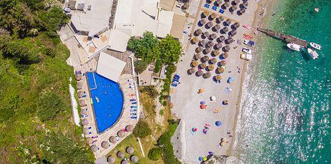 teren hotelu, basen, plaża, wakacjepl