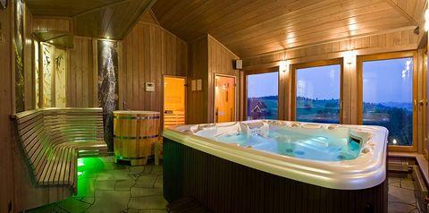 obiekt, teren hotelu, basen, sauna