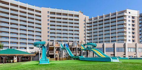 obiekt, budynek główny, zjeżdżalnia, dla dzieci, plac zabaw