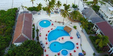 obiekt, teren hotelu, basen, plaża